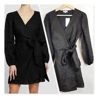 [ AERE ] Womens Wrap Around Black Linen Dress NEW + TAGS  | Size AU 10 or US 6