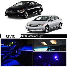 8x Blue Interior Map LED Light Package Kit Fit 2006-2012 Honda Civic Sedan Coupe