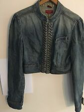 Women's Guess Jeans Cropped Blue Jean Jacket Stretch Braided Detail M