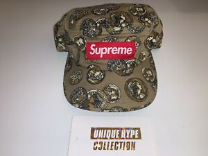 SUPREME 2014 S/S COINS BOX LOGO CAMP CAP HAT 5 PANEL TAN USED PRE-OWNED