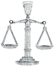 10K White Gold Lucky Libra Weighing Scale 1.5 Inch Diamond Pendant Charm 0.55ct