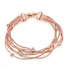 Fashion Lady Rose Gold Plated Multi-chain Czech Drill Bracelet Brangle Gift Girl