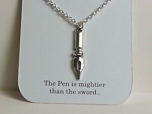 Pen Writing Writers pendant necklace gift Jewellery