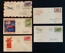 TCStamps 5x 1938-1944 AIRMAIL COVERS w First Route Washington-NY WWII Cachet #27