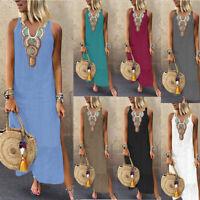 Women's Printed Sleeveless V-neck Maxi Dress Split Hem Baggy Party Long Dress