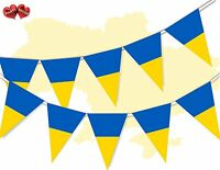 Ukraine Full Flag Patriotic Themed Bunting Banner 15 Triangle flags National