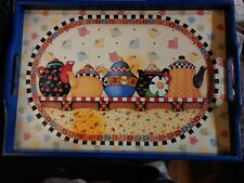 "Mary Engelbreit wood 12"" x 16"" tray featuring teapots pre-owned"