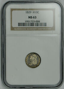1829 H10C Capped Bust Half Dime MS 63 NGC *Fatty Holder*
