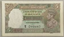 India 5 Rupees P18b Signed Deshmukh Portrait King George VI 1943 aUNC M/5 092667