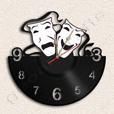 Theatre Comedy Tragedy Masks Wall Clock Vinyl Record Clock