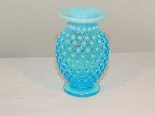 Fenton Blue opalescent Hobnail Vase over 3 inches tall (10293)