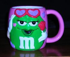 M&M Pink MUG with GREEN CANDY holding rose with Valentine HEARTS