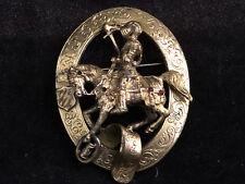 Broche Ancienne Cavalier Métal Doré Bijoux Ancien