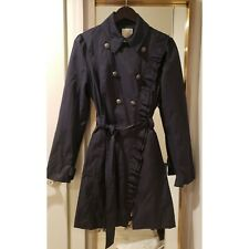 ELEVENSES navy blue ruffle double  breasted belted trenchcoat