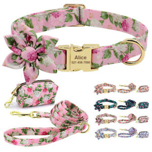 Floral Personalized Dog Collar and Leash with Attached Poop Bag Dispenser Set