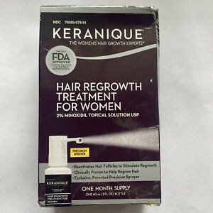 Keranique Regrowth Hair Treatment Womens Thicker-Looking  One Month Supply