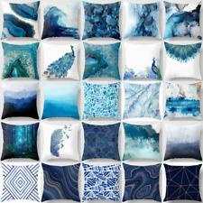 "Cushion COVER Peacock Blue White Home Decor Decorative Marble Pillow Case 18x18"""