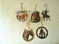 "Lot Of 5 Metal / Other Western Themed Wall Hanging  Art "" GREAT MIXED LOT """
