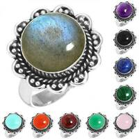 925 Sterling Silver Gemstone Ring Women Jewelry Size 5 6 7 8 9 10 11 12 13 mQ031