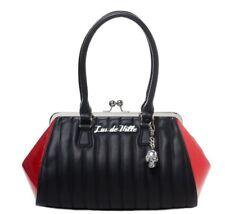 Lux De Ville Lady Vamp Doctor Bag Kisslock Red Sparkle + Matte Black Retro NEW