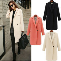 Women Winter Woolen Long Trench Coat Peacoat Parka Jacket Overcoat Outwear