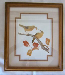VINTAGE JAPANESE ART: WHEAT STALK ON SILK, BIRDS ON BRANCHES