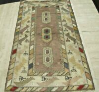 Vintage Oriental Central Asian Carpet 4x6 ft Rare Handwoven Wool Living Room Rug