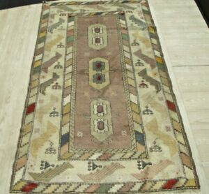 Vintage Central Asian Carpet 4x6 ft Rare Oriental Handwoven Wool Dining Room Rug