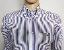 LACOSTE a righe da uomo camicia abito taglia 42 M-L circonferenza petto 44 Collar 15.5