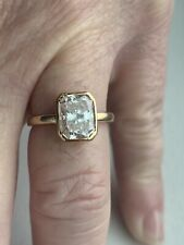 Radiant Solitaire Ring 14kt Yellow Gold Moissanite