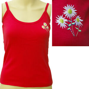 EMBROIDERED CAMISOLE DAISY VEST TOP 100% COTTON VINTAGE ROCKABILLY  SIZE 10-12