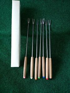 Vintage Stainless Steel Fondue Forks Set of 6 Original Box Japan.