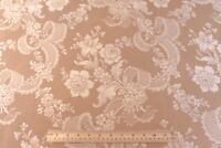 """Vintage c1930-40 French Roses & Ribbons Tan Cotton Jacquard Woven Fabric~44""""X53"""