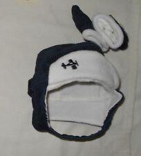 Vintage Rare Baby Boys Blue White Flap Nolan Winter Hat Gloves Sz 6-12 Mths