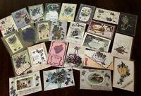 Lot of 25 Pretty *Purple~Violets Flowers~Vintage~Floral Greetings Postcards-h176