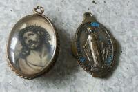 2 X VINTAGE CHRISTIANITY RELIGIOUS PENDANTS- JESUS / VIRGIN MARY  & ITALIAN ONE