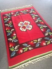 Vintage Antique Mexican Blanket Saltillo Serape Beautiful Colors Wool Red 1940s