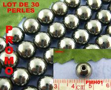 Lot de 30 perles hematite aimant - diamètre 10 mm - PMH01