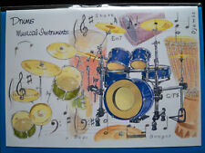 DRUMS GREETINGS CARD with envelope blank for your own message
