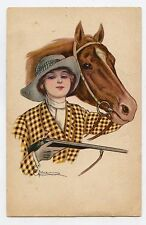 illustrateur signé . Femme et son cheval . CHASSE. HUNTING . Woman and her horse