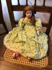 Vintage doll handprinted face homemade clothes B1