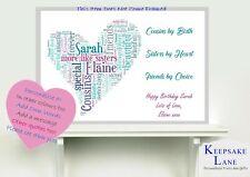 Personalised Cousin Friend Cousins Gift Print Birthday Day Heart Handle Keepsake