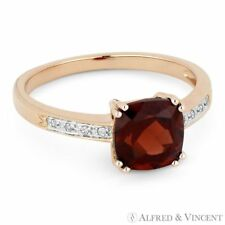Diamond Right-Hand Ring 14k Rose Gold 1.59ct Cushion Cut Garnet Gemstone & Round