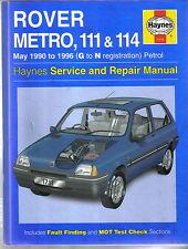 Rover Metro, 111 & 114 1990-1996 Petrol Haynes Service & Repair Manual 1996