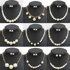 Elegant Women Crystal Pearl Chain Necklace Earrings Bridal Wedding Jewelry Set