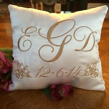 Wedding Ring Bearer Pillow Personalized in White Satin