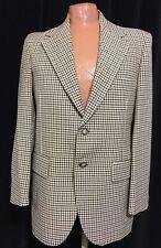 Vtg 70s Mens Sports Coat 42R Plaid Polyester 2 Button Leisure Jacket Disco