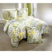 Bettwäsche Bettgarnitur 200x200 65x65 Baumwolle Französisch Blüten Gelb  Grün (7)