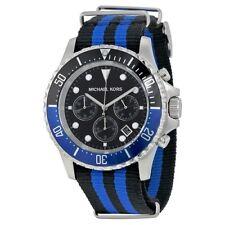 WATCH MICHAEL KORS EVEREST CHRONO BLACK/BLUE MK8398 - NUOVO (LISTINO € 249,00)