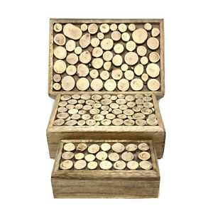 Wooden Handcrafted Rustic Hinged Top Nesting Decorative Storage Boxes Set of 3